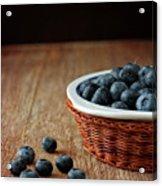Blueberries In Wicker Basket Acrylic Print by © Brigitte Smith