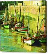 Boats At Honfluer France Acrylic Print by Fred Jinkins