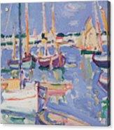 Boats At Royan Acrylic Print by Samuel John Peploe