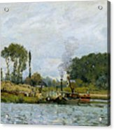 Boats At The Lock At Bougival Acrylic Print by Alfred Sisley