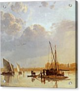 Boats On A River Acrylic Print by Aelbert Cuyp