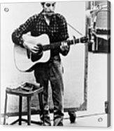 Bob Dylan B. 1941 Playing Guitar Acrylic Print by Everett