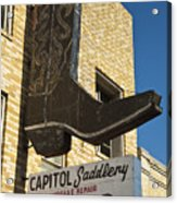 Boot Sign Acrylic Print by Mark Weaver