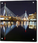 Boston Zakim Memorial Bridge Nightscape II Acrylic Print by Shane Psaltis