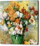 Bouquet Of Chrysanthemums Acrylic Print by Pierre Auguste Renoir