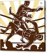 Boxer Knocking Out Acrylic Print by Aloysius Patrimonio