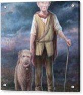 Boy With Dog Acrylic Print by Hans Droog