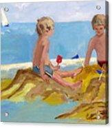 Boys At The Beach Acrylic Print by Betty Pieper