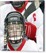 Boys Playing Ice Hockey Acrylic Print by Ria Novosti