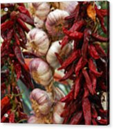 Braid Of Garlic Framed By Ristras Acrylic Print by Anne Keiser