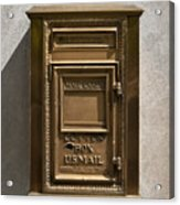 Brass Mail Box Nyc Acrylic Print by Robert Ullmann