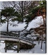 Bridge At Botanical Garden Acrylic Print by David Bearden