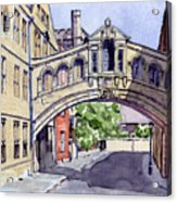 Bridge Of Sighs. Hertford College Oxford Acrylic Print by Mike Lester