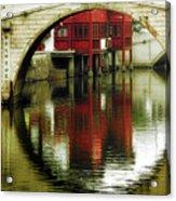 Bridge Over The Tong - Qibao Water Village China Acrylic Print by Christine Till
