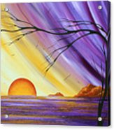 Brilliant Purple Golden Yellow Huge Abstract Surreal Tree Ocean Painting Royal Sunset By Madart Acrylic Print by Megan Duncanson