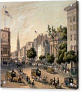 Broadway In The Nineteenth Century Acrylic Print by Augustus Kollner