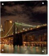Brooklyn Bridge At Dusk Acrylic Print by Shawn Everhart