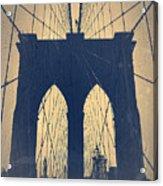 Brooklyn Bridge Blue Acrylic Print by Naxart Studio