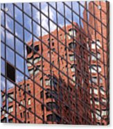 Building Reflection Acrylic Print by Tony Cordoza