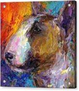 Bull Terrier Dog Painting Acrylic Print by Svetlana Novikova