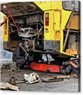 Bus Repairs Acrylic Print by Dawn Currie
