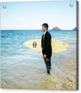 Business Man At The Beach With Surfboard Acrylic Print by Brandon Tabiolo - Printscapes
