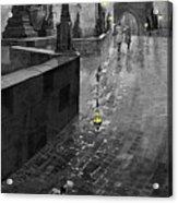 Bw Prague Charles Bridge 01 Acrylic Print by Yuriy  Shevchuk