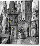 Bw Prague Charles Bridge 02 Acrylic Print by Yuriy  Shevchuk