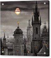 Bw Prague City Of Hundres Spiers Acrylic Print by Yuriy  Shevchuk