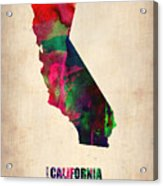 California Watercolor Map Acrylic Print by Naxart Studio