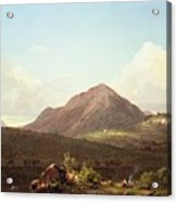 Camp Fire In The Maine Wilderness Acrylic Print by Frederic Edwin Church