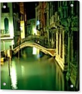 Canal And Bridge In Venice At Night Acrylic Print by Michael Henderson