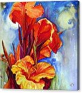 Canna Lilies Acrylic Print by Priti Lathia