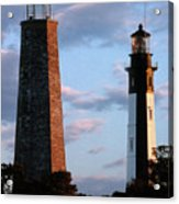 Cape Henry Lighthouses In Virginia Acrylic Print by Skip Willits