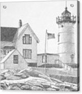 Cape Neddick Light House Drawing Acrylic Print by Dominic White