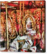 Carnival - The Carousel - Painted Acrylic Print by Mike Savad