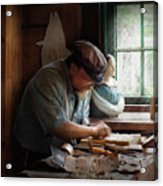 Carpenter - Carving The Figurehead  Acrylic Print by Mike Savad