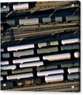 Carriages Of Freight Trains On A Commercial Railway Acrylic Print by Sami Sarkis