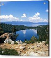 Cascade Lake And Lake Tahoe Acrylic Print by Troy Montemayor