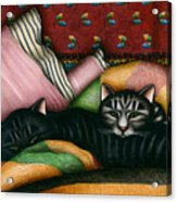 Cats With Pillow And Blanket Acrylic Print by Carol Wilson