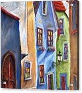 Cesky Krumlov Old Street Acrylic Print by Yuriy  Shevchuk