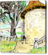 Chapel On Estate River Acrylic Print by Tilly Strauss