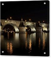 Charles Bridge At Night Acrylic Print by Michal Boubin