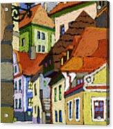 Chesky Krumlov Masna Street 1 Acrylic Print by Yuriy  Shevchuk