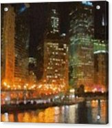 Chicago At Night Acrylic Print by Jeff Kolker
