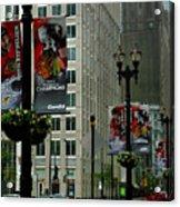 Chicago Blackhawk Flags Acrylic Print by Ely Arsha
