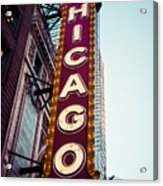 Chicago Theatre Marquee Sign Vintage Acrylic Print by Paul Velgos