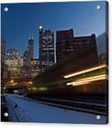 Chicago Train Blur Acrylic Print by Sven Brogren