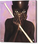 Child With Stick Acrylic Print by L Cooper