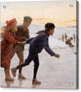 Children Skating Acrylic Print by Percy Tarrant